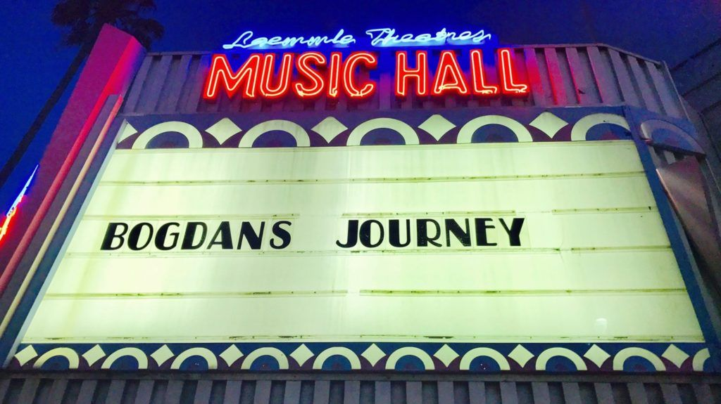 cinema marquee for Bogdan's Journey at Laemmly Music Hall